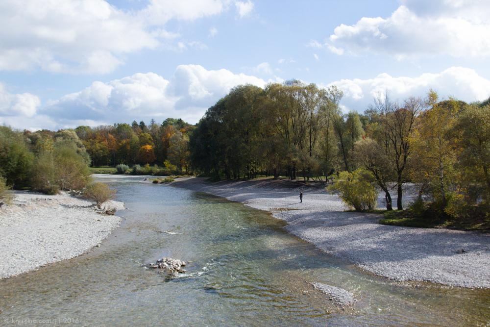 мюнхен, река исар, осень, путешествия, германия, münchen, deutschland